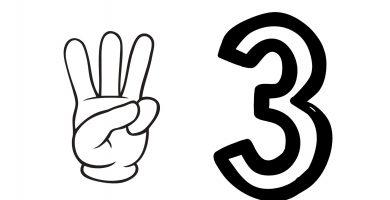 numero 3 dedos