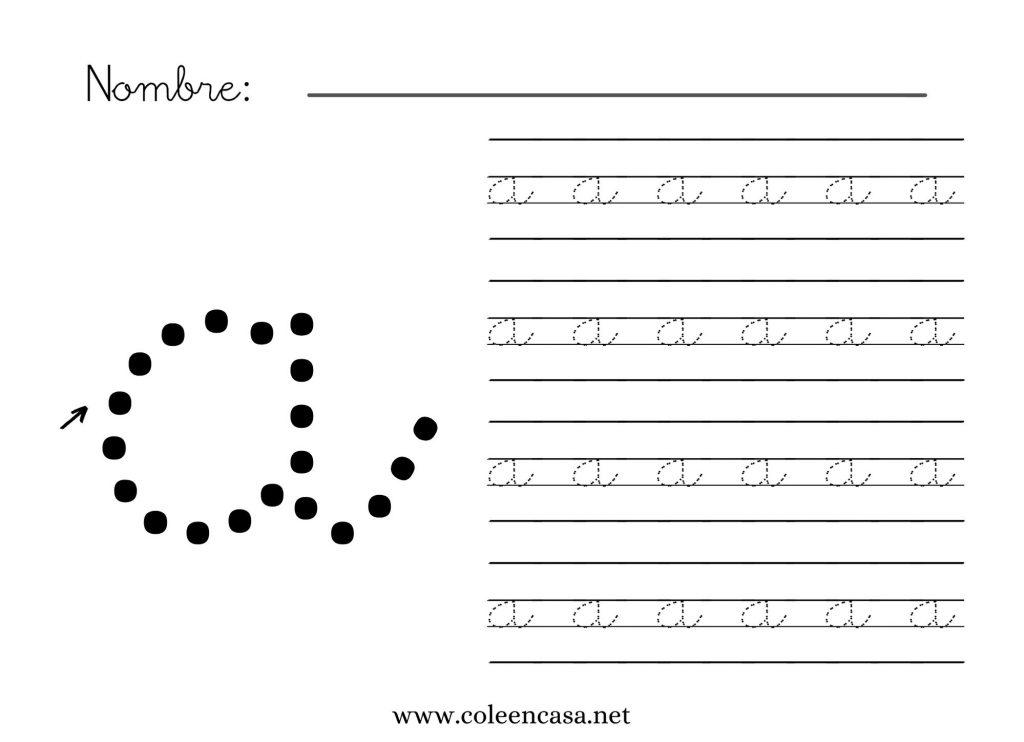 letra a minuscula pauta montesori